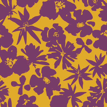 Floral seamless pattern. Silhouettes made of wild and meadow flowers and petals. Botanical painting for textiles, fabrics, clothes, jacket, souvenirs, wrapper or surface.