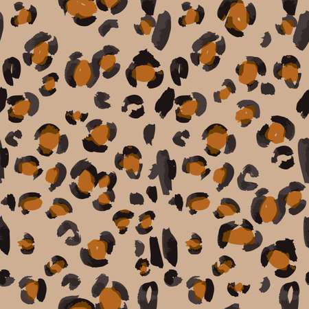 Vector abstract seamless pattern. Doodle figures and flowers imitation. Leopard skin texture illusion.