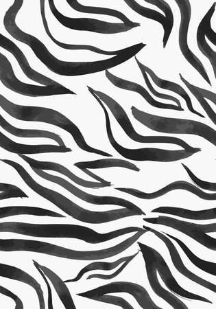 Vector abstract seamless pattern. Watercolor doodle figures made of stained ribbons. Water waves imitation. Zebra skin texture illusion. Vettoriali