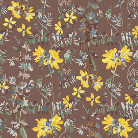 Vector floral seamless pattern. Watercolor wildflowers, branches and foliage. Bright botanical drawing. Background with flowers for wallpaper, textiles, fabric, clothes, souvenirs, wrapper, surface.