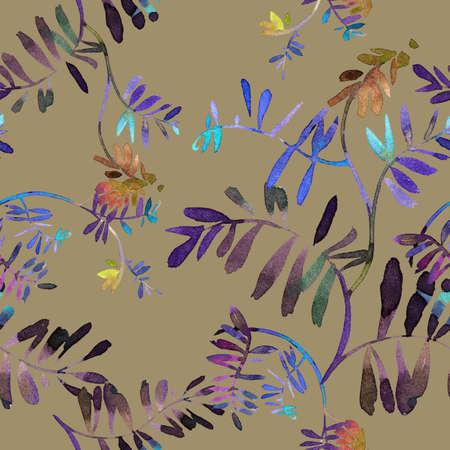 Floral seamless pattern. Watercolor wildflowers, branches and foliage. Bright botanical drawing. Background with flowers for wallpaper, textiles, fabric, clothes, souvenirs, wrapper, surface.