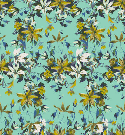 Seamless floral pattern with abstract garden flowers. Watercolor botanical illustration. Petals, buds, blooming flowers and leaves. Background for wallpaper, textile, fabric, clothes, dress or surface