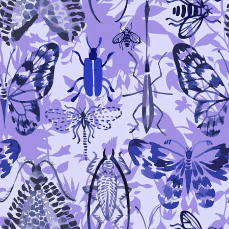 Animal exotic background. Vector seamless pattern made of watercolor insects mixed with meadow flowers and plants silhouettes. Hand drawn butterflies, beetles, dragonfly, bee. Watercolor texture. Illusztráció