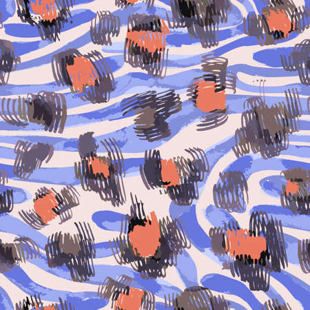 Sophisticated seamless pattern with abstract jungle camouflage animal texture. Artistic animal skin leopard spots fur with watercolor zebra stripes skin background. Trendy wavy stripes animal pattern.