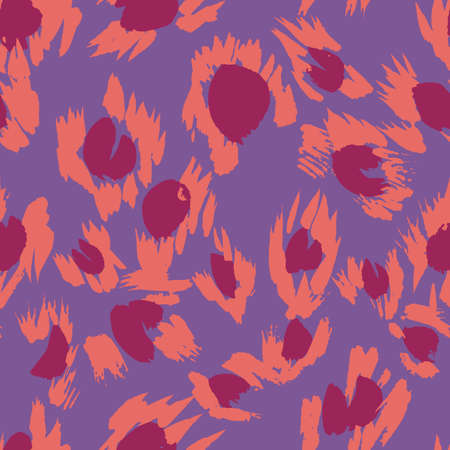 Vector abstract seamless pattern with doodle figures. Animal skin leopard spots fur imitation. Flowers illusion. For wallpaper, bedding, textile, fabric, clothes, jacket, wrapper, surface, scrapbook.