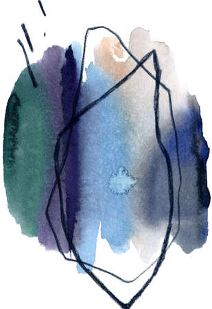 Watercolor abstract drawing. Hand drawn watercolor paint brush strokes with curved lines and paint stains. Paper texture. Great for bedding, fabric, textile, wrapping, surface.
