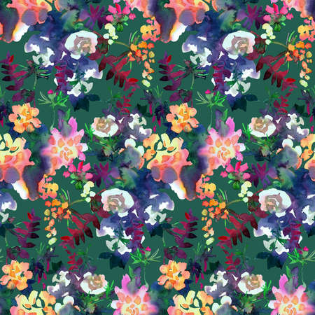 Floral seamless pattern. Hand drawn watercolor abstract flowers, rose buds and petals. Bright botanical painting. Motley backdrop for textiles, fabrics, clothes, jacket, souvenirs, wrapper or surface.