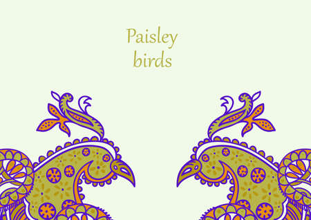 Vector card design in Paisley style. Drawn two firebirds with text placed at the top. Great for postcard, greeting, wedding and invitation cards, placing text.