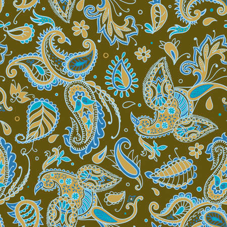 seamless pattern. Fire birds and floral elements in Paisley style.
