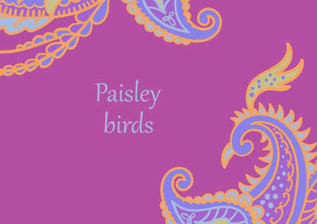 Vector card design in Paisley style. Drawn firebird and tail with text placed in the center. Great for postcard, greeting, wedding and invitation cards, placing text.