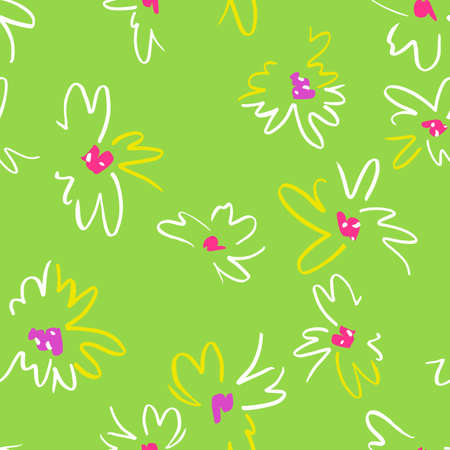 floral seamless pattern. Simple colorful botanical illustration with daisy flowers. Plain sketch made of marker. Good for bedding, fabric, textile, wallpaper, wrapping, surface.