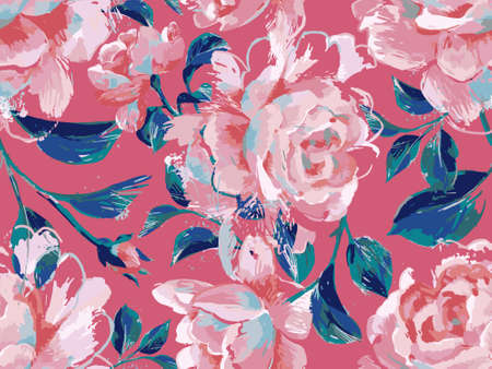 Floral seamless pattern made of opulent large roses. Acrylic painting with flower buds and leaves. Botanical illustration for fabric and textile.