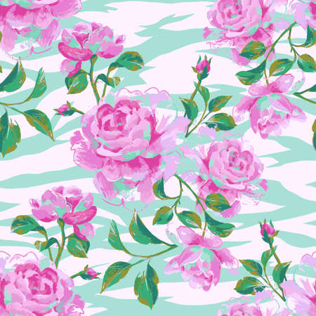 Floral seamless pattern made of gorgeous large roses. Acrylic painting with flower buds and leaves on zebra stripes background. Mix of animal skin texture and botanical ornament. Illustration