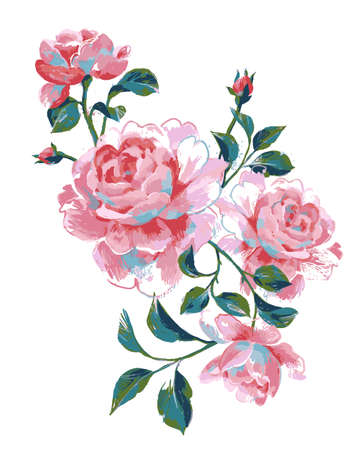 Acrylic floral painting. Bouquet of summer large roses isolated on white. Hand drawn beautiful botanical artwork for poster, card, banner or print. 矢量图像