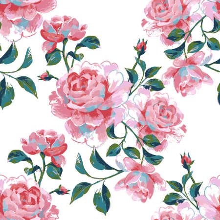 Floral seamless pattern made of gorgeous large roses. Acrylic painting with flower buds and leaves isolated on white. Botanical illustration for fabric, textile, wallpaper and surface.