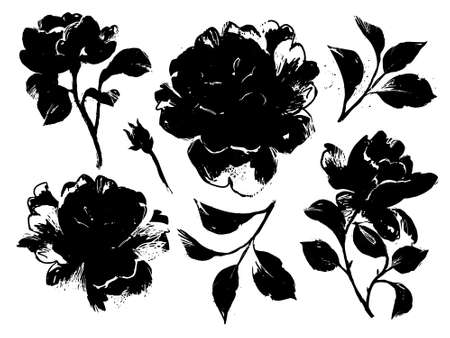floral set isolated on white. Large black roses silhouettes collection. Sketch style flat flower elements for prints, card, poster, banner, icons. 矢量图像