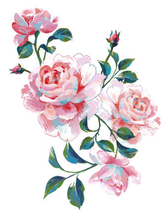 Acrylic floral painting. Bouquet of summer large roses isolated on white. Hand drawn beautiful botanical artwork for poster, card, banner or print.