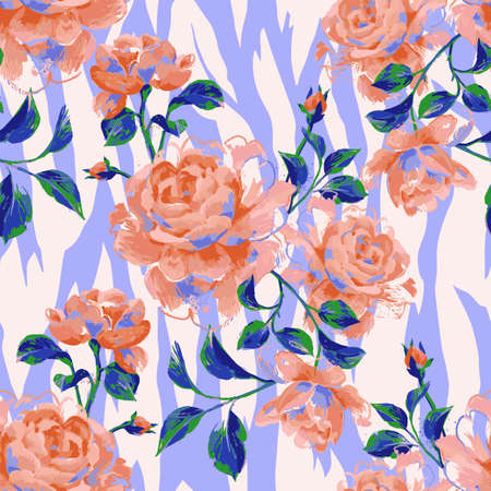Floral seamless pattern made of gorgeous large roses. painting with flower buds and leaves on zebra stripes background. Mix of animal skin texture and botanical ornament. Illustration