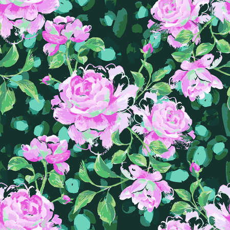 Floral seamless pattern made of blooming large roses. painting with flower buds and leaves on leopard skin background. Mix of animal fur texture and botanical ornament.