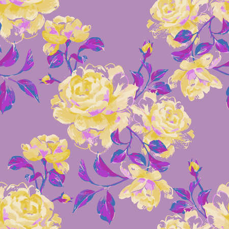 Floral seamless pattern made of gorgeous large roses. Acrylic painting with flower buds and leaves. Botanical illustration for fabric, textile, wallpaper and surface. Illustration