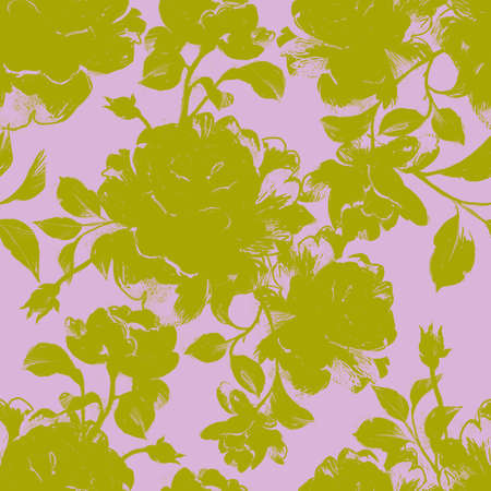Floral seamless pattern made of opulent roses. Flower buds and leaves silhouettes. Botanical illustration for fabric and textile.