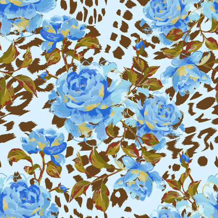 Floral seamless pattern made of gorgeous large roses. Acrylic painting with flower buds and leaves on leopard background. Mix of animal skin texture and botanical ornament.