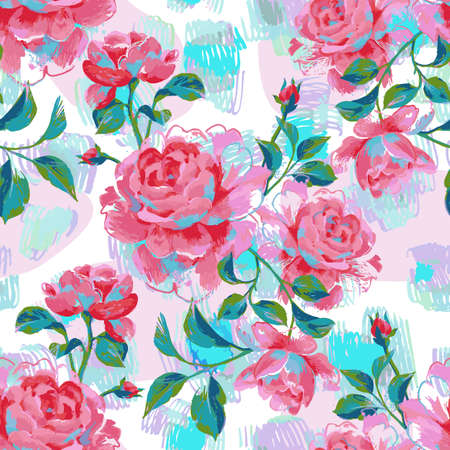 Exquisite floral seamless pattern made of opulent blooming roses. painting with large flower heads and leaves.
