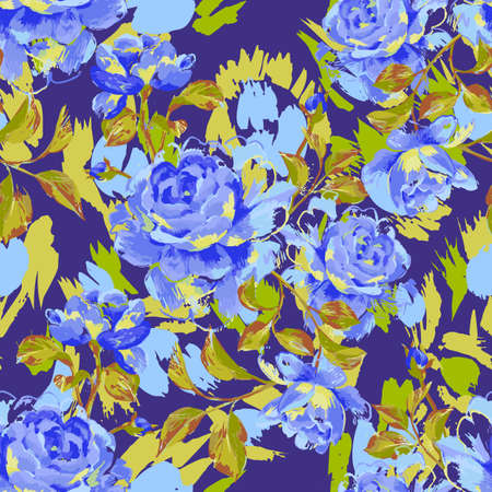 Artistic floral seamless pattern made of opulent blooming roses. Acrylic painting with large flower buds and leaves.