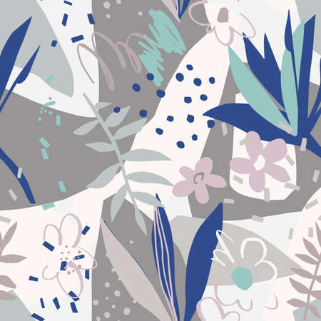 Plain flowers, petals, leaves with geometrical shape and doodle elements such as dots, scribbles and stripes. Colorful botanical background for textile and surface.