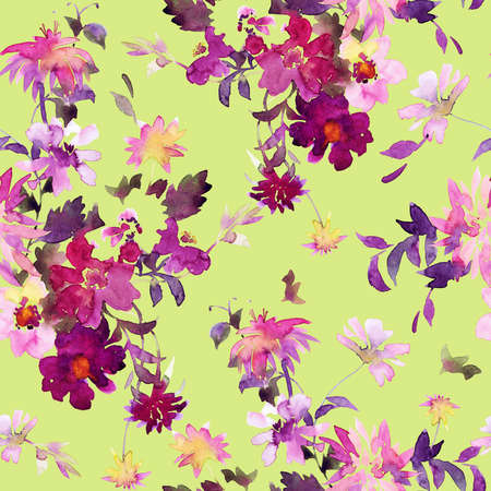 Beautiful garden and wild flowers bouquet. Fresh watercolor painting. Summer floral seamless pattern made of abstract watery meadow flowers.