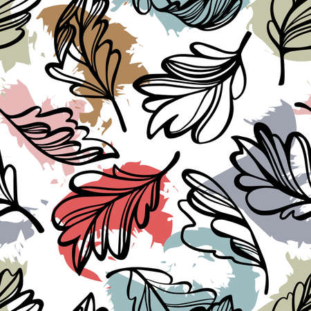 Botanical seamless pattern. Transparent tree leaves above abstract colorful blot forms with ragged borders. Sketch style outline drawing, vector floral background.