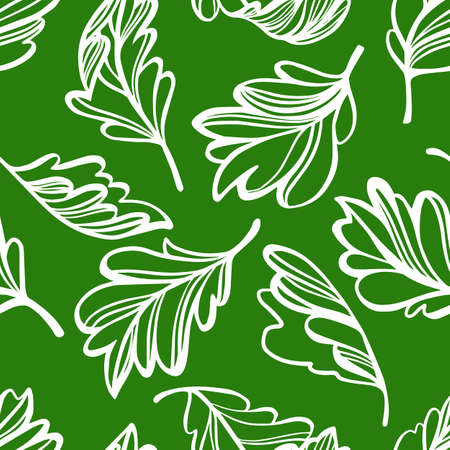Botanical seamless pattern. Transparent leaves of a tree isolated. Sketch style flat design, Vector floral background. Outline drawing.