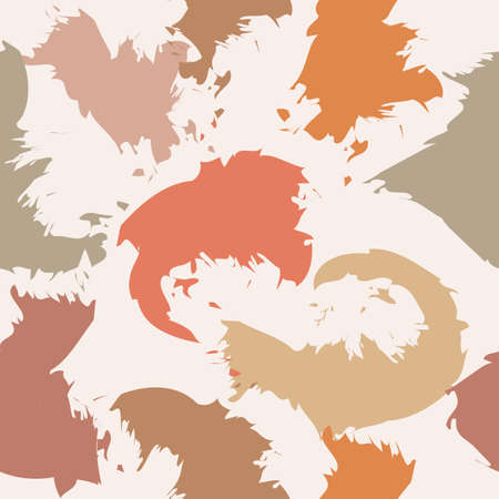 Abstract vector seamless pattern. Background with different colored shapes blots with ragged borders. PlaIn drawing, Cut out paper design.