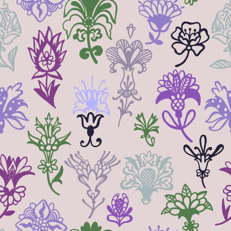 Fantasy floral. Decorative botanical vector seamless pattern made of abstract oriental flowers. Flat design, outline contour drawing. Illusztráció