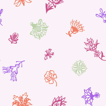 Fantasy floral. Decorative botanical vector seamless pattern made of abstract oriental flowers. Flat design, outline contour drawing. Ilustração