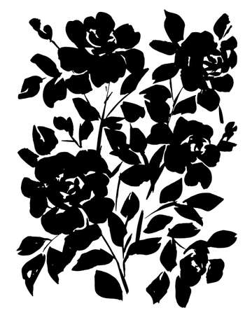 Hand drawn bouquet of flat opulent roses isolated on white. Flowers silhouettes. Floral artwork illustration. Decorative background with large blossom flowers for postcard, print, banner, poster Vettoriali