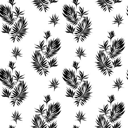 Abstract tropical plants pattern. Hand drawn fantasy exotic sprigs. Seamless floral background made of herbal foliage leaves for fashion design, textile, fabric and wallpaper.
