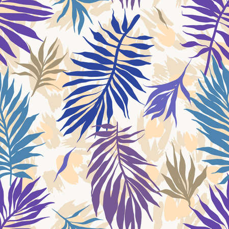 Abstract seamless tropical plants pattern. Hand drawn fantasy exotic sprigs with leopard skin background. Floral illustration made of herbal foliage leaves. Good for wallpaper, textile, fabric, fashion.
