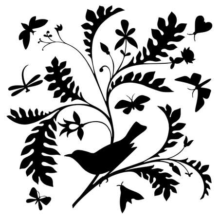 Black silhouette of a bird on a tree bough isolated on white. Nature motif. with butterflies and bird. Vintage style.