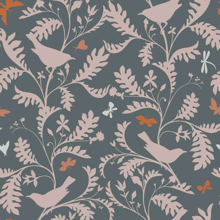 Birds on the tree branches. Seamless pattern. Animal silhouettes in vintage style. Nature motif with small birds, boughs with leaves. Textile fashion design for fabric, kids, child and nursery room. Illustration