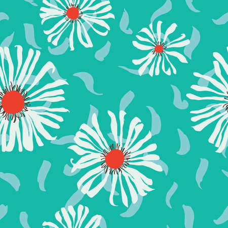 Seamless pattern made of daisies. Artistic background with flowers. Delicate floral illustration. Trendy flat drawing. Good for textile, fabric, wallpaper, bedding, clothes, wrapper, surface