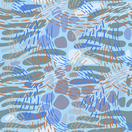 Seamless abstract geometric pattern. Hand drawn dashed color lines forming overlapping waves on striped oval shapes. Colorful smooth paving stone forms mixed with bold dotted line stitches. Textile.