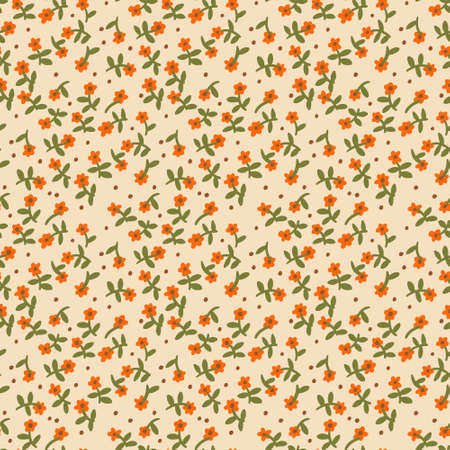 Vector botanical seamless pattern. Small daisies. Flowers in vintage style. Flat Simple floral freehand background for fashion design, textile, fabric, background, wallpaper, surface or wrapping.