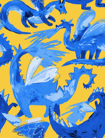 Seamless pattern with mythological animal. Backdrop made of fire breathing dragons. Childish cartoon naive style. Flying dragon medieval reptiles.