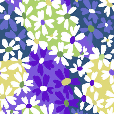 Vector botanical seamless pattern. Small bright daisies. Plain flowers in vintage style. Floral hand free drawing for textile, fabric and background.