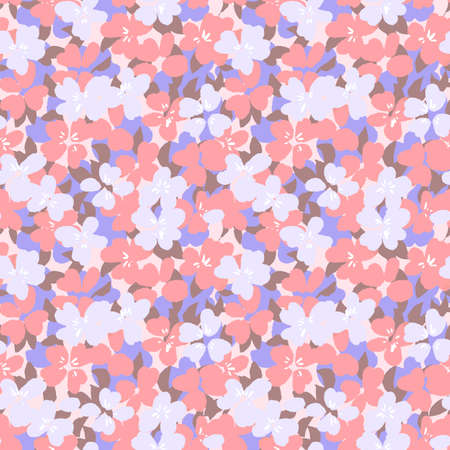 Vector botanical seamless pattern. Small daisies. Glade of wild flowers in vintage style. Flat simple floral freehand background for fashion design, textile, fabric, wallpaper, surface or wrapping.