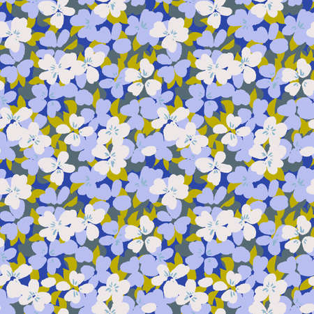 Vector botanical seamless pattern. Small daisies. Glade of wild flowers in vintage style. Flat simple floral freehand background for fashion design, textile, fabric, wallpaper, surface or wrapping. 向量圖像