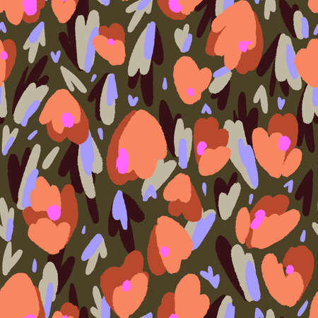 Abstract floral background made of tulip buds. Geometric shapes. Flowers seamless pattern. Fantasy florals. Textile and fabric design.