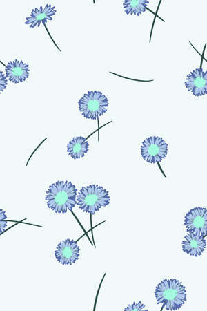 Ditsy background. Small daisy flowers seamless pattern. Gentle floral illustration. Trendy flat drawing. Good for textile, fabric, wallpaper, bedding, clothes, wrapper, surface 向量圖像