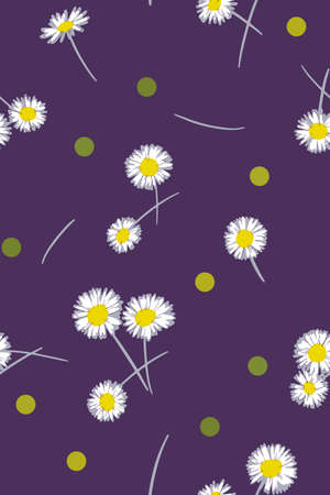 Ditsy background. Small daisy flowers seamless pattern. Gentle floral illustration. Trendy flat drawing. Good for textile, fabric, wallpaper, bedding, clothes, wrapper, surface Ilustrace
